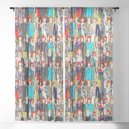 Rock Stars Heroes LV Gray Sheer Curtain
