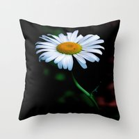 jewish Throw Pillows featuring A daisy a day keeps the blues away by Brown Eyed Lady