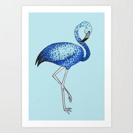 'Flaming-blue' Blue Pointillism Flamingo Illustration Art Print