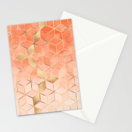 Soft Peach Gradient Cubes Stationery Cards