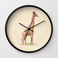 giraffe Wall Clocks featuring Fashionable Giraffe by Terry Fan