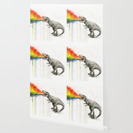 T-Rex Rainbow Puke Wallpaper