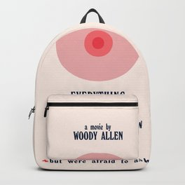 Woody Allen minimalist movie poster, alternative playbill, everything you wanted to know about sex Backpack