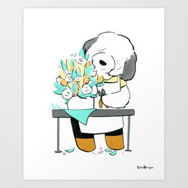 English Sheepdog Florist (Dogs with Jobs series) Art Print