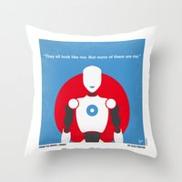 uncharted Throw Pillows featuring No275 My I ROBOT minimal movie poster by Chungkong