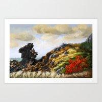 Rocky Seaside Hill Art Print