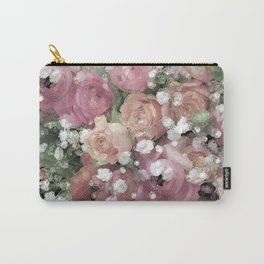 vintage pastel flowers Carry-All Pouch