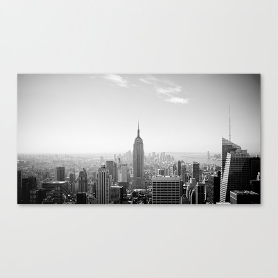 Manhattan - Empire State Building Panorama | B/W Canvas Print