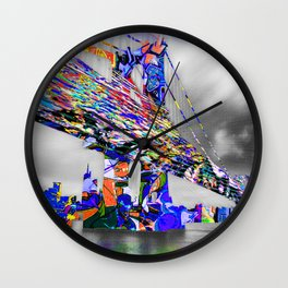 New York City Manhattan Bridge Pure Pop Blue Wall Clock