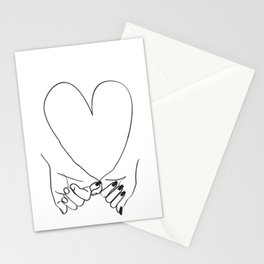 Pinky Promise His and Hers Romantic Love Illustration Stationery Cards