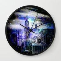 new york skyline Wall Clocks featuring New York Skyline by haroulita