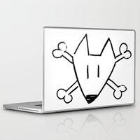 bull terrier Laptop & iPad Skins featuring Bull Terrier Skull by Chiaris