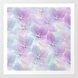 Painterly flower field in blue and pink Art Print