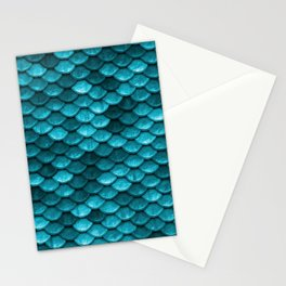 Beach house aqua blue mermaid fish Scales Stationery Cards