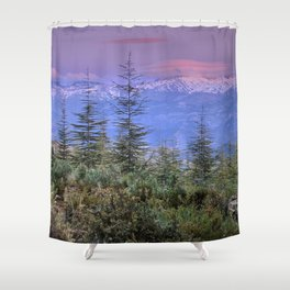 Sierra Nevada at sunset. Purple clouds Shower Curtain