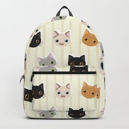Cute Kitten & Stripes Pattern Backpack