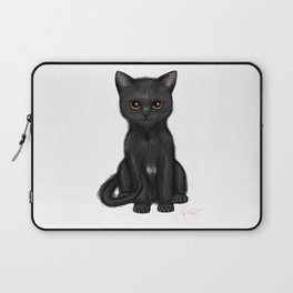 Sweet Black Kitty Cat with Bright Golden Eyes  Laptop Sleeve