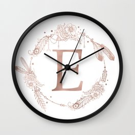 Letter E Rose Gold Pink Initial Monogram Wall Clock