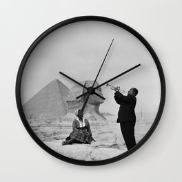 Black and White Photo of Louis Armstrong at the Egyptian Sphinx Wall Clock