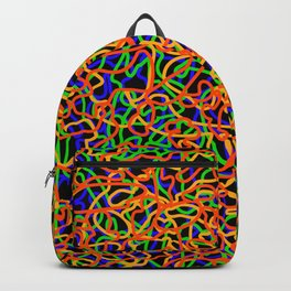 Random colored tangled ropes and gold lines. Backpack