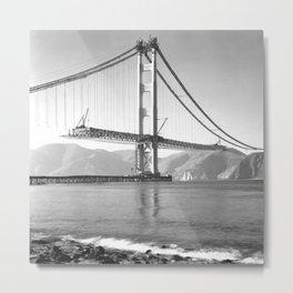 Construction of the Golden Gate Bridge, 1935, San Francisco Bay black and white photograph Metal Print