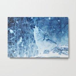 Snow Wolf Howl Metal Print