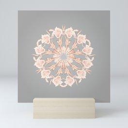 Rose Gold Gray Lilies Mandala Mini Art Print