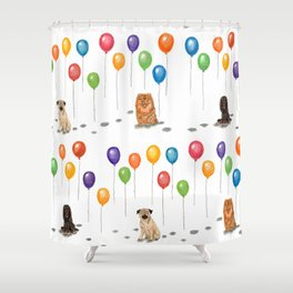Pomeranian with balloons Shower Curtain