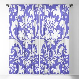 Paisley Damask Blue and White Sheer Curtain