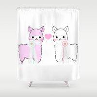 alpaca Shower Curtains featuring Alpaca Love by rinicake