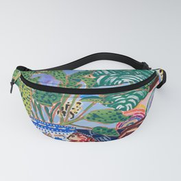 Cheetah and Lion House Plant Still Life Painting with Rainbow Fanny Pack