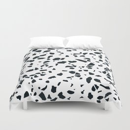 Black and white Terrazzo Asteroids Duvet Cover