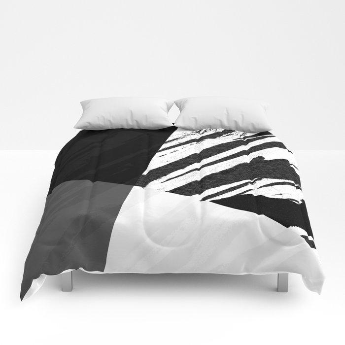Contemporary Zebra Bold Black And White Design Comforters By