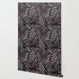 Rose Gold Leaves on Dark Gray Black Wallpaper
