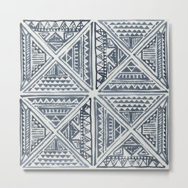Simply Tribal Tile in Indigo Blue on Lunar Gray Metal Print