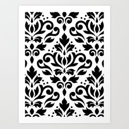 Scroll Damask Large Pattern Black on White Art Print
