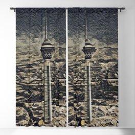 Iran Milad Tower Artistic Illustration Floor Stones Style Blackout Curtain