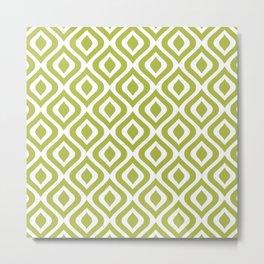 Mid Century Modern Diamond Ogee Pattern 128 Olive Green Metal Print