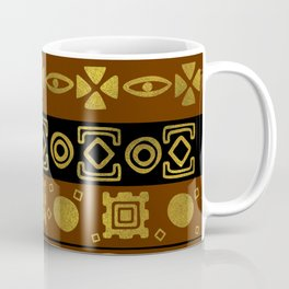 Ethnic African Golden Pattern on black and brown Coffee Mug