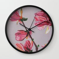magnolia Wall Clocks featuring Magnolia by Marjolein
