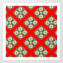 RED PATTERNED  WHITE DAISY FLORAL ABSTRACT Art Print