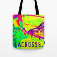 lacrosse Tote Bags featuring LACROSSE PLAYER by TMCdesigns
