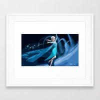 frozen elsa Framed Art Prints featuring Elsa | Frozen by EcaJT