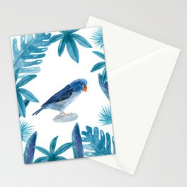 Blue Pacific Parrotlet with tropical leaves Stationery Cards