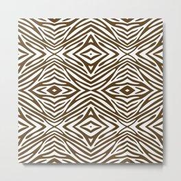 Pecan Neutral Zebra Metal Print