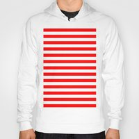 stripes Hoodies featuring Horizontal Stripes (Red/White) by 10813 Apparel