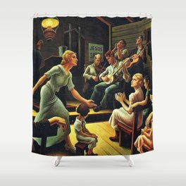 Classical Masterpiece 'Heal the Child' by Thomas Hart Benton Shower Curtain