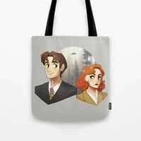 dana scully Tote Bags featuring Mulder & Scully by Sutexii