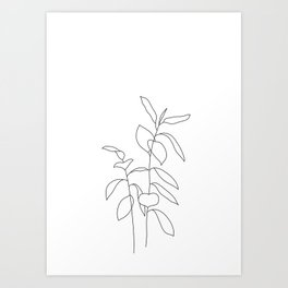Plant one line drawing illustration - Ellie Art Print