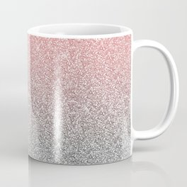 Girly Rose Gold & Silver Ombre Glitter Design Coffee Mug